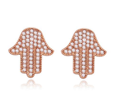 Boucles d'oreilles goujons Bijoux 18 K Or Plaqué Main Style Boucles D'oreilles 2016 Nouveau Mode Femmes Cubique Zircone Boucles D'oreilles Bijoux En Gros TER080