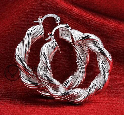 10pairs / lot bijoux placage de haute qualité en argent sterling 925 cadeaux mode de boucles d'oreilles d'oreille 40mm fleurs de chanvre hyperbole grande boucle d'oreille