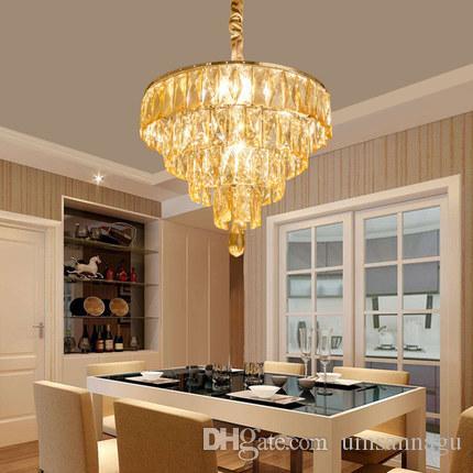 Lambalar Asılı Odası Lobi Otel Dining Hall Modern Kristal Avize Amerikan K9 Kristal Avizeler Işıklar Armatür Ev İç Aydınlatma Yatak