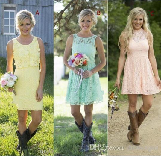 Country Style Short Lace Bridesmaid Dresses Mixed Style Formal Dress For Junior And Adult Bridesmaid Knee-length Wedding Party Dresses