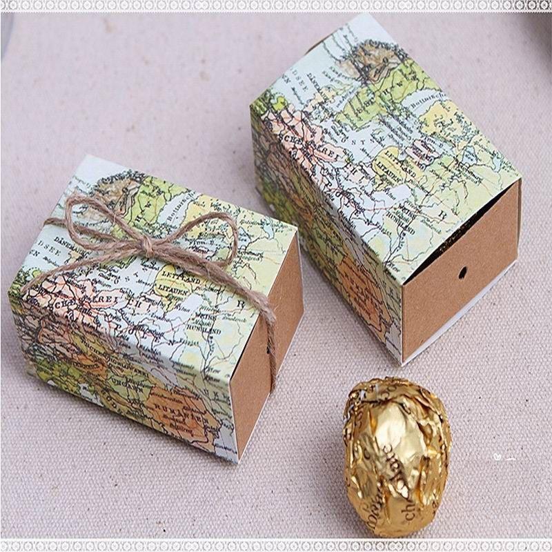 """boîte de faveur douce de mariage """"Autour du monde"""" Carte de boîte de faveur pour les accessoires de fête de cadeau de fête de bonbons de fête de thème de voyage"""