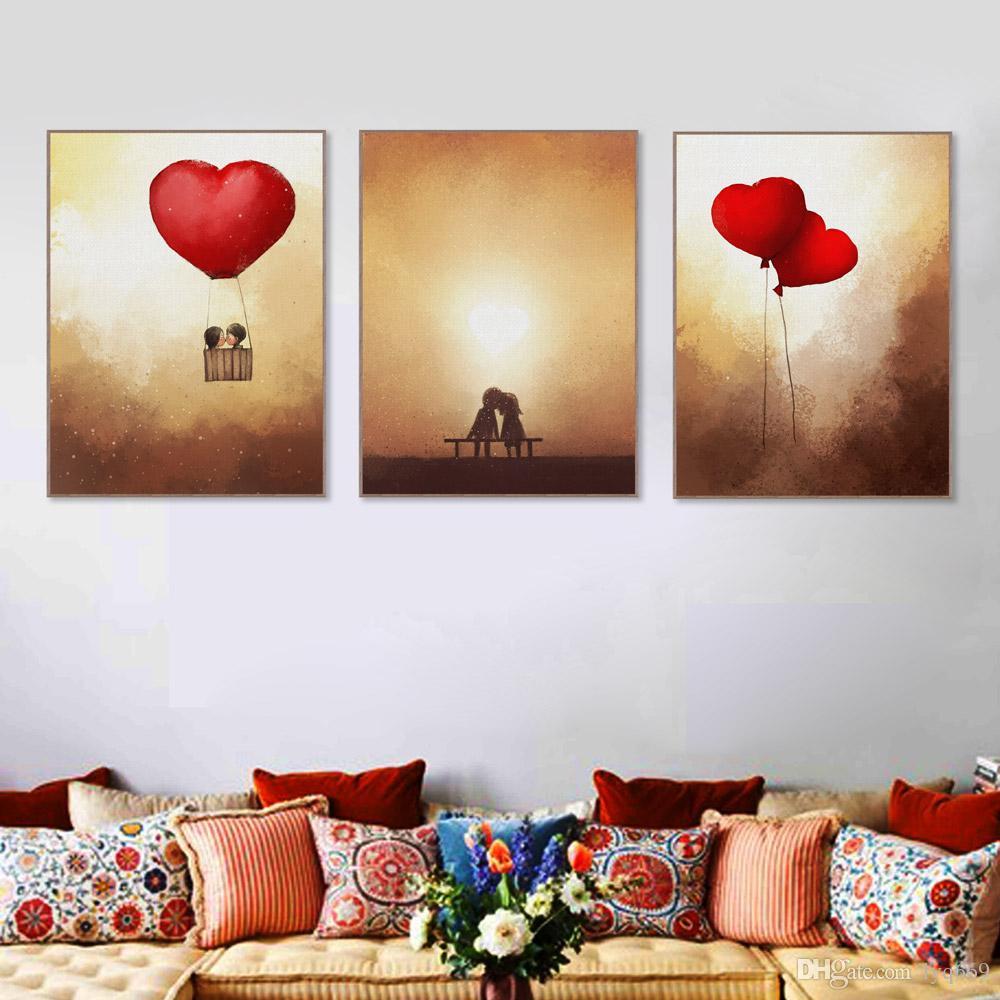 Großhandel Vintage Romantische Valentine Liebe Herz Ballon Poster ...