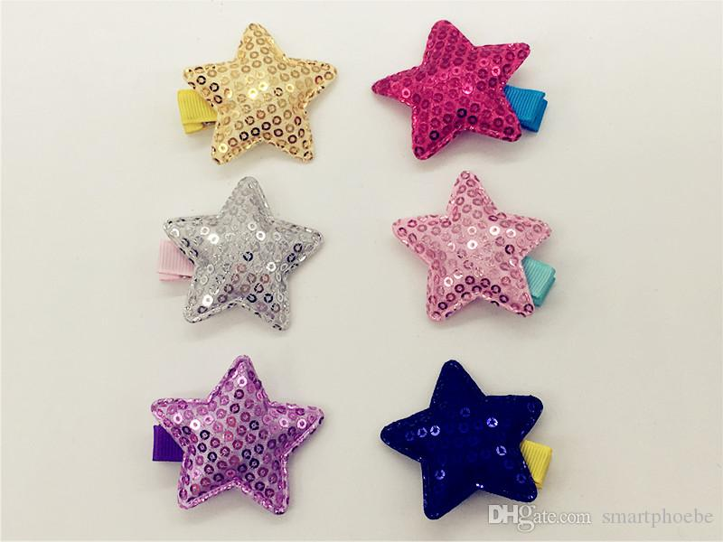 Boutique 30pcs Gilrs gli accessori dei capelli cute glitter paillettes Star neonate forcelle del bambino