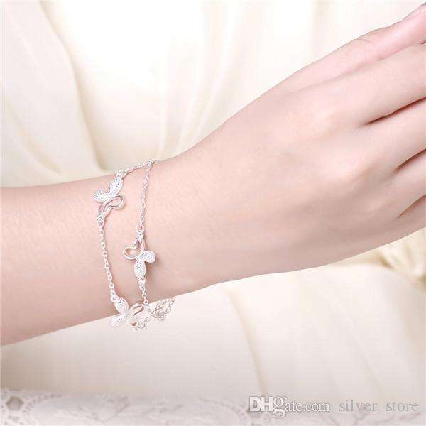 Hot Koop Kerstcadeau 925 Silver Butterfly Armband DFMCH409, Gloednieuwe Mode Sterling Verzilverd Ketting Link Armbanden Hoogwaardig
