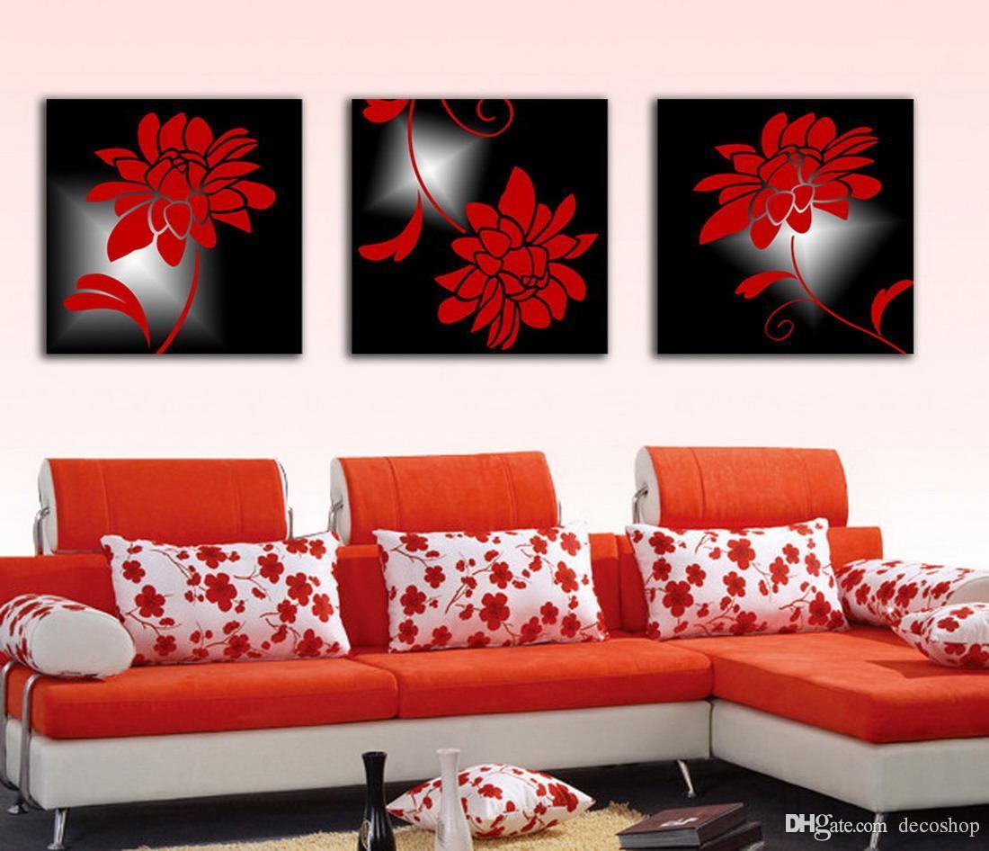 Modernas Belas Flores Finas Pintura Floral Giclee Impressão Na Lona Home Decor Wall Art Set30195