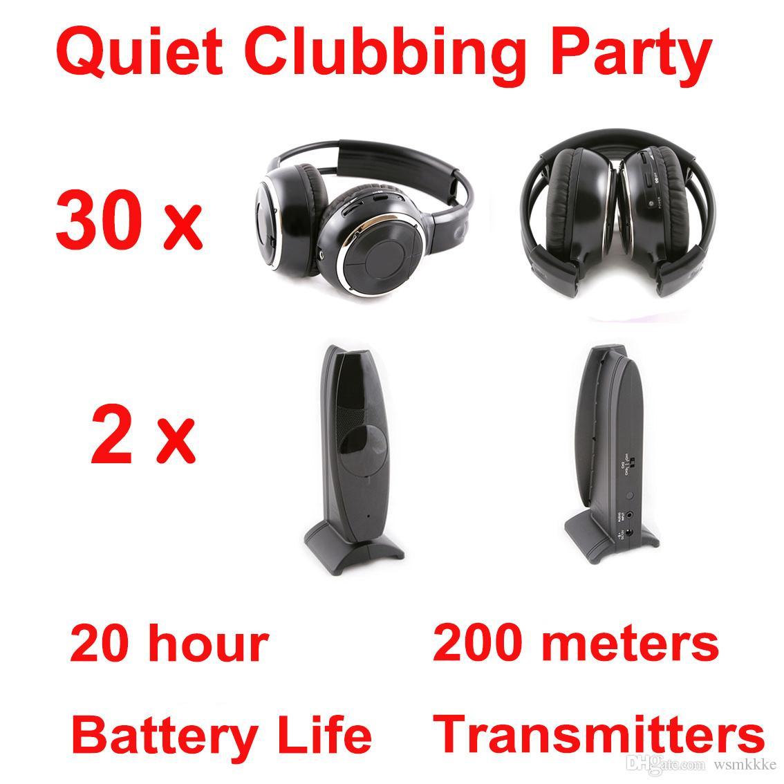 Professionelle Silent Disco Kopfhörer zwei Kanäle 30 faltbare Kopfhörer 2 Sender - RF Wireless für iPod MP3 DJ Musik