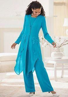 2016 Élégant Hunter En Mousseline De Soie À Manches Longues 3pc Jewel Neck Ruffles Mère De La Mariée Pantalon Costumes Mère Robe