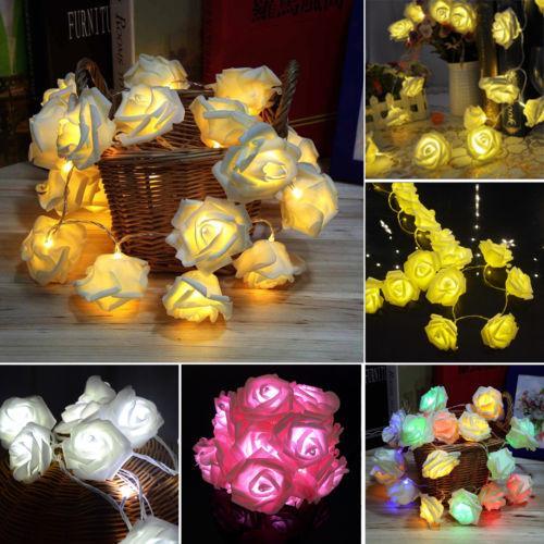 20 Led Rose Flower Fairy Wedding Garden Party Christmas Decoration