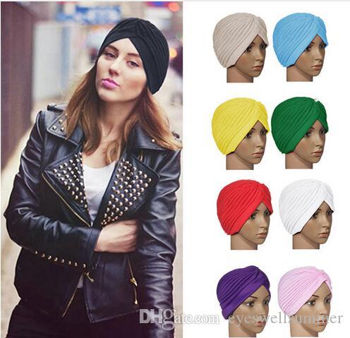 Nuevo 18 colores Unisex India Cap mujer Turban Headwrap sombrero Skullies gorros hombres Bandana Ears Protector accesorios para el cabello