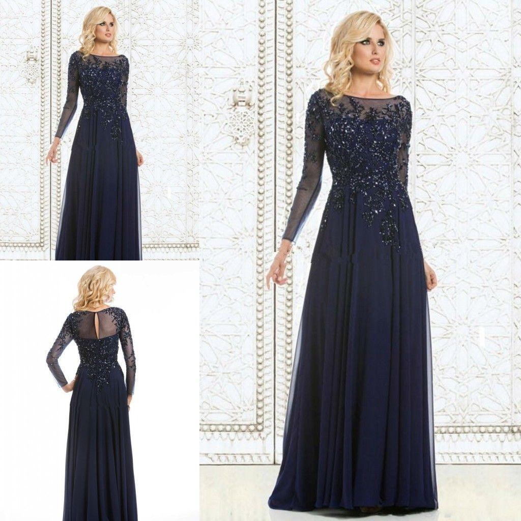 Großhandel Langärmliges Abendkleid Hochwertiges Dunkelblaues Chiffon  Applique Kleid Für Frauen Abendkleid Für Formelle Anlässe Kleid Für Die