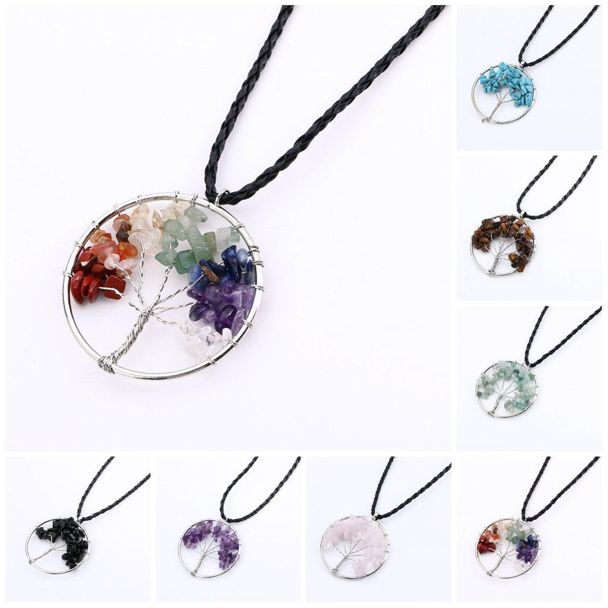 Statement Necklace For Women Rainbow 7 Chakra Amethyst Tree Of Life Quartz Pendant Necklace Multicolor Wisdom Tree Natural Stone Necklace