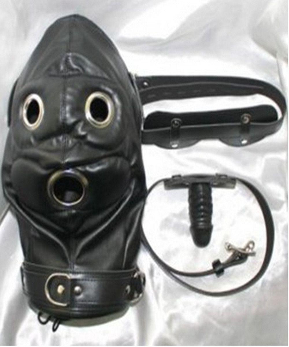 Zachte PVC lederen bondage slaven kap masker hoofddeksels met siliconen dildo's penis mond plug gag in volwassen games fetish porno seksspeeltjes voor vrouwen