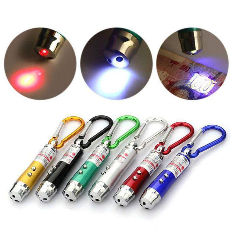 Multi-functional Mini 3 in1 LED Laser Light Pointer Key Chain Flashlights Mini Torch Flashlight Money Detector Light