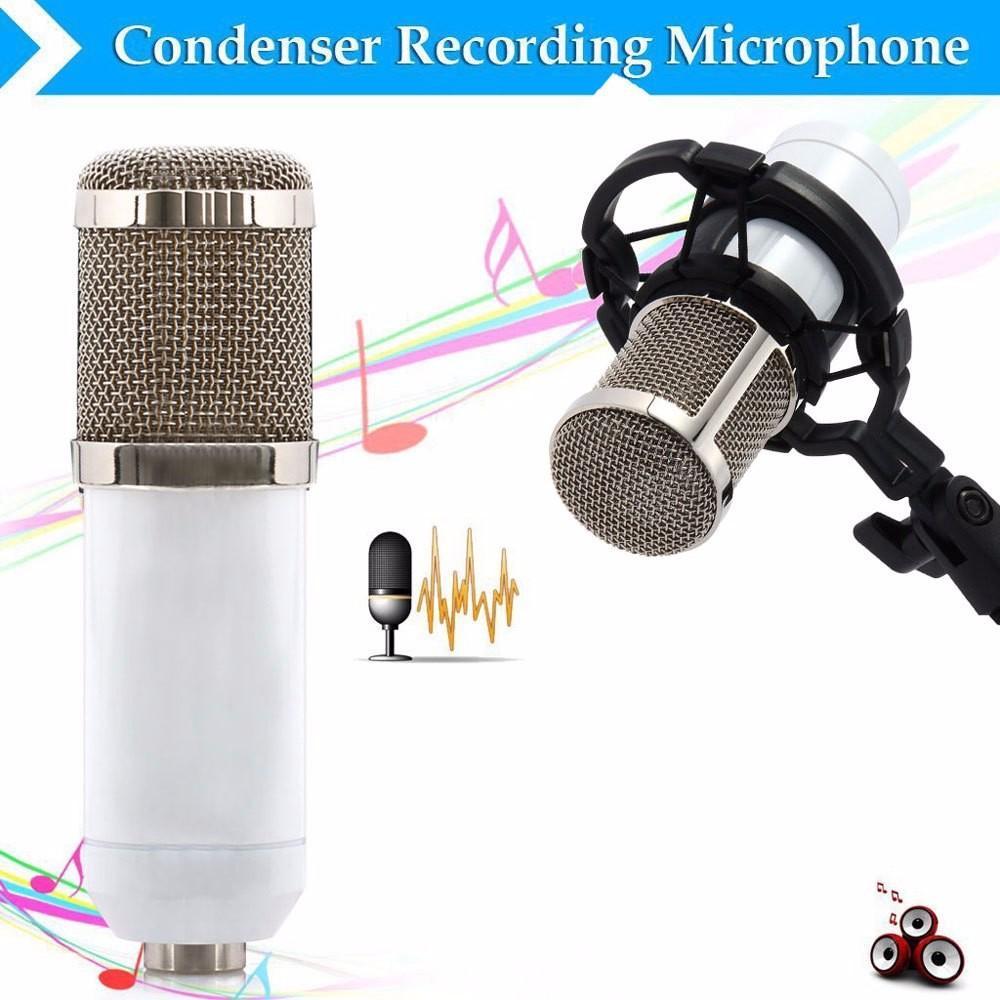 Microfono a condensatore professionale BM800 Sound Studio Recording Mic dinamico + montaggio ammortizzatore bianco + cavo + parabrezza