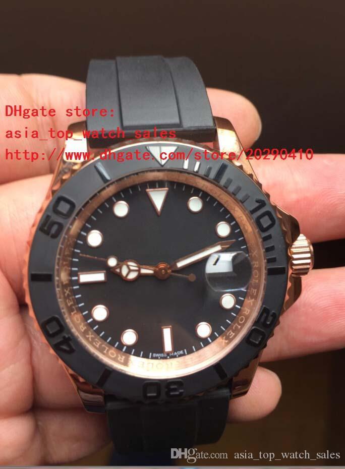 Lüks Kol Saatleri 40mm Siyah Dial 116655 18 K Gül Altın Safir Asya 2813 Otomatik Mekanik Erkek erkek Izle Saatler