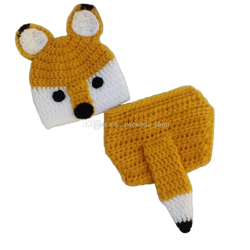 Adorable Newborn Fox Outfit,Handmade Knit Crochet Baby Boy Girl Animal Fox Hat and Diaper Cover Set,Baby Halloween Costume,Infant Photo Prop