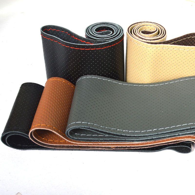 DIY PU кожаный чехол для рулевого колеса автомобиля с иглами и резьбой горячий продавать