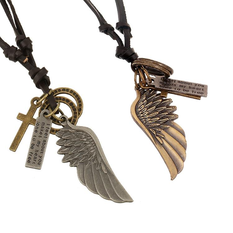 Wholesale Fashion Jewelry Angel wings Necklace Men Personality Leather Rope Alloy Clavicle Necklace Casual Vintage Punk Necklace N0034