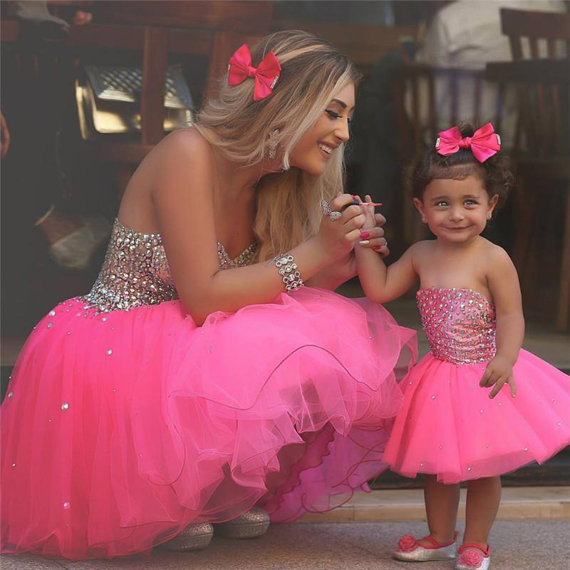 Luxury Pink Short Mother And Daughter Matching Prom Dresses 2016 A ...