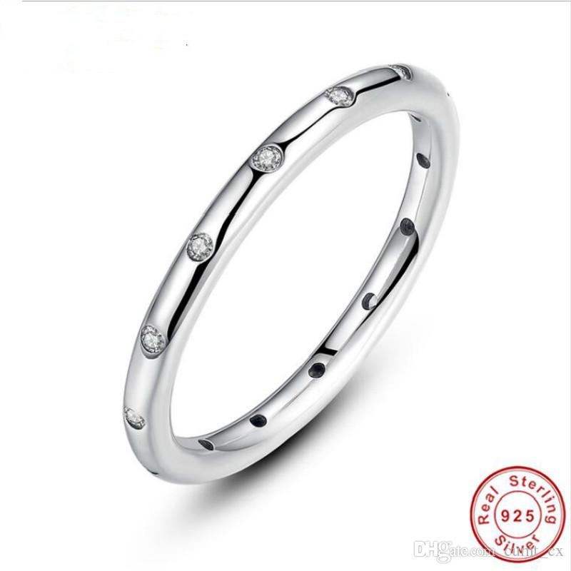 Marca 925 Gotas de Prata Esterlina Dedo Empilhável Anel Clássico para As Mulheres de Casamento Original Fine Jewelry Hot