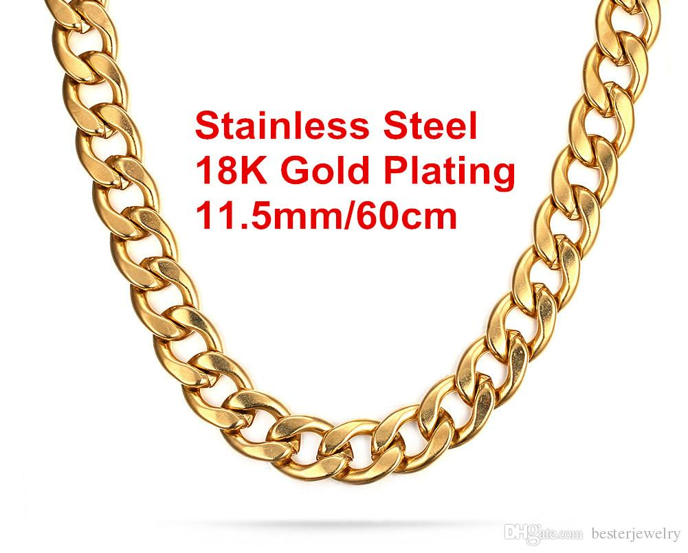 Newest High Quality 18K Gold Plated 316L Stainless Steel Punk Large Curb Chain Necklace For Men