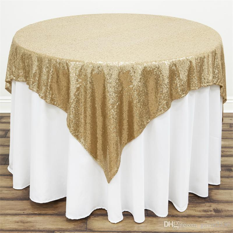 Free Shipping Hot Selling Square 48*72inch Gold Sequin TableCloth Wedding Decoration Sequin Table Overlay For Party Banquet Home