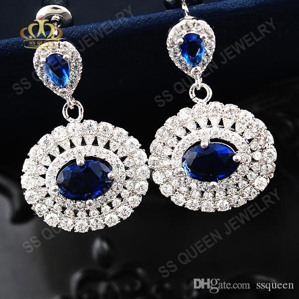 Top quality Anti-allergy Platinum / 18k white gold plated silver High-end sapphire blue corundum Silver Post Earrings for women