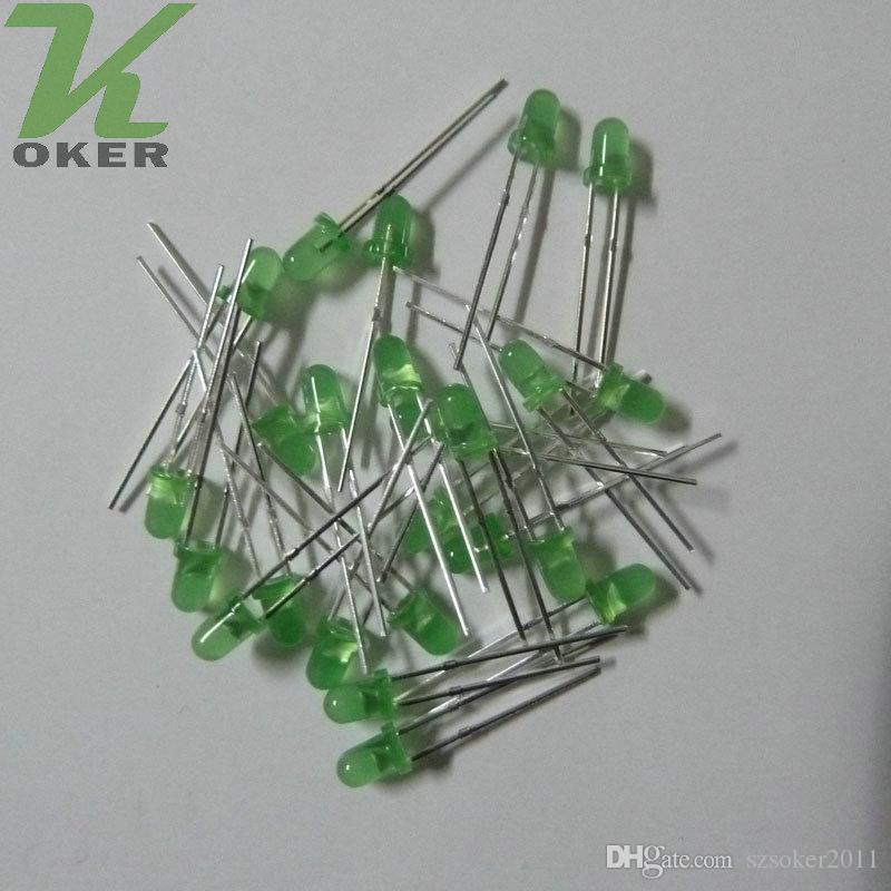 1000 pz 3mm 3mm verde diffuso LED Light Light Light Lampada Emissione diodo nebbioso Ultra Branzosi Plug-in Kit fai da te Pratica Pratica grandangolare