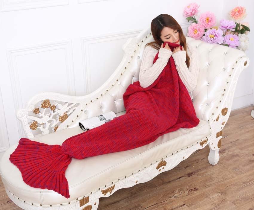 Yarn Knitted Mermaid Tail Blanket Handmade Crochet Mermaid Blanket Kids Throw Bed Wrap Super Soft Sleeping Bed X184 (14)