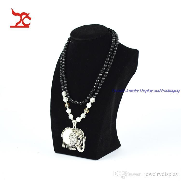 Free shipping One Black Velvet Mannequin Necklace Holder for Jewelry Display Stand Rack Counter Showcase 21CM height