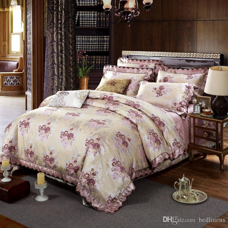 Noble Purple Cotton Silk Flower Bedding Set Quilted Bedspreads King Size Jacquard Embroidery Satin Comforter Cover 4/5pc Bed Linens Covetlet