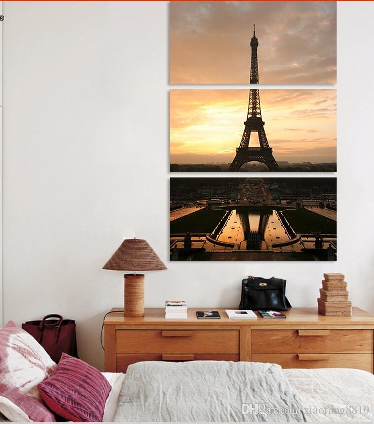sun Eiffel Tower Modern city Paris picture decoration canvas universe painting wall Art living room home