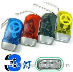 400 teile / los 3LED Handpresse Keine Batterie 3 LED-Taschenlampe Taschenlampe Camping im Freien für Geschenk