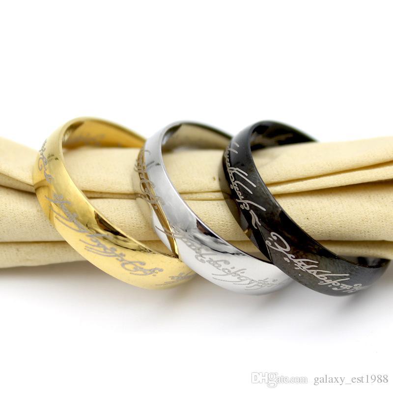 lotti all'ingrosso 100pcs signore degli anelli argento oro nero lucido moda magica anelli in acciaio inox