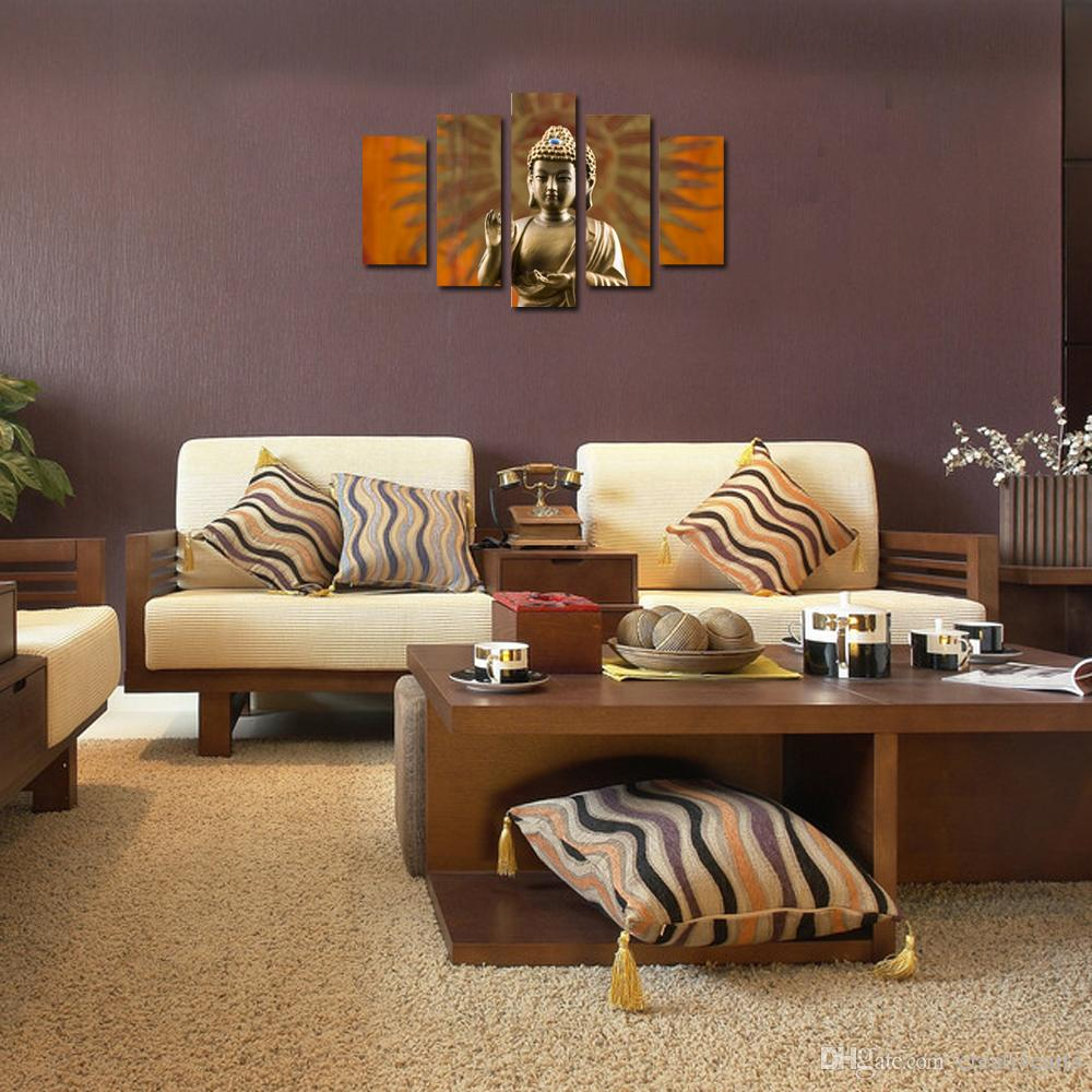 Buddha Wall Decor 2017 canvas prints wall decor 5 panel golden buddha wall art