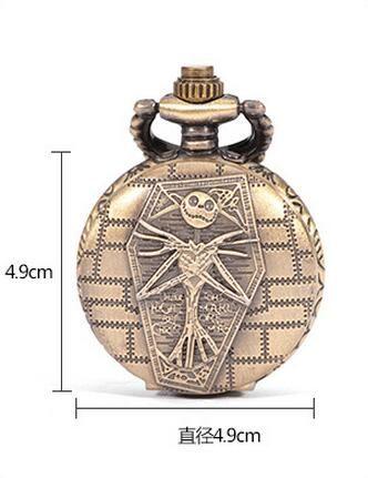 Wholesale 50pcs/lot Burton's Nightmare Before Christmas Dial Pendant Necklace Chain Quartz Pocket Watch PW071