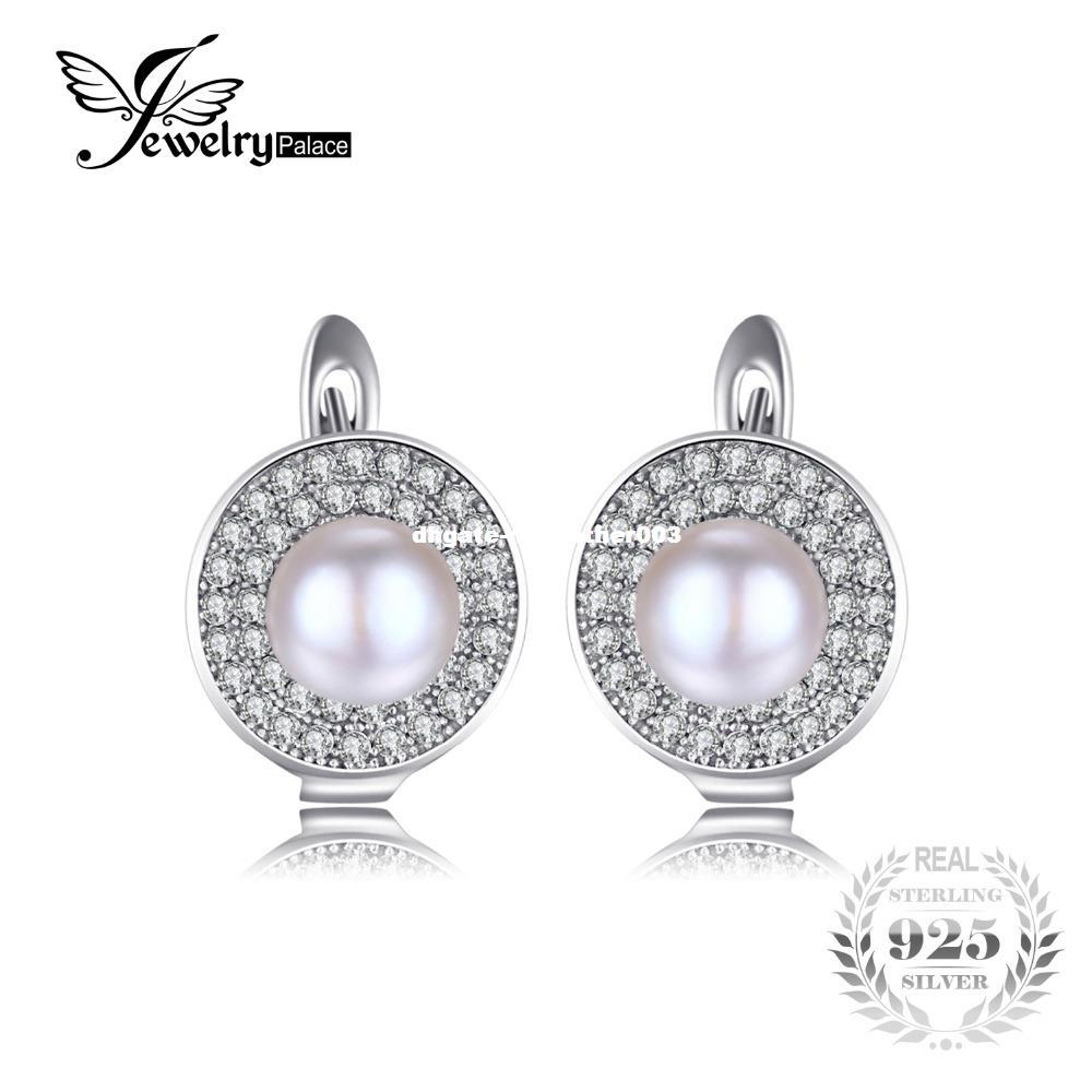 JewelryPalace Luxury 7mm Freshwater Cultured White Pearl Clip On Earrings 925 Sterling Silver Earring for Women Fine Jewelry