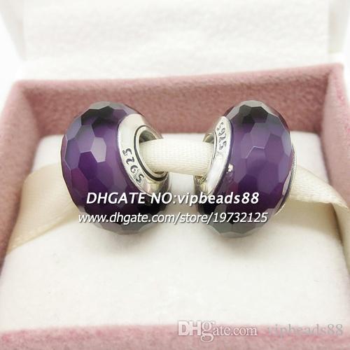 S925 gioielli moda in argento sterling Perle di vetro di Murano con faccette viola scuro, misura la collana europea dei braccialetti di fascino pandora fai da te