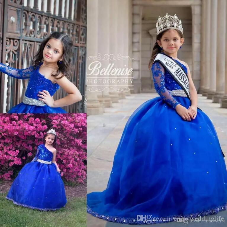 Royal Blue One spalla Girls Pageant Dresses 2018 New Sparkly Lace Paillettes Sheer Maniche lunghe Flower Girl Abiti bambini Abiti da cerimonia