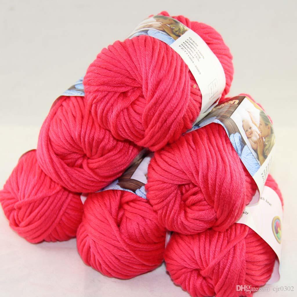 Много 6 BallsX50g специального толстая камвольно 100% хлопок вязание пряжа Красный 2217