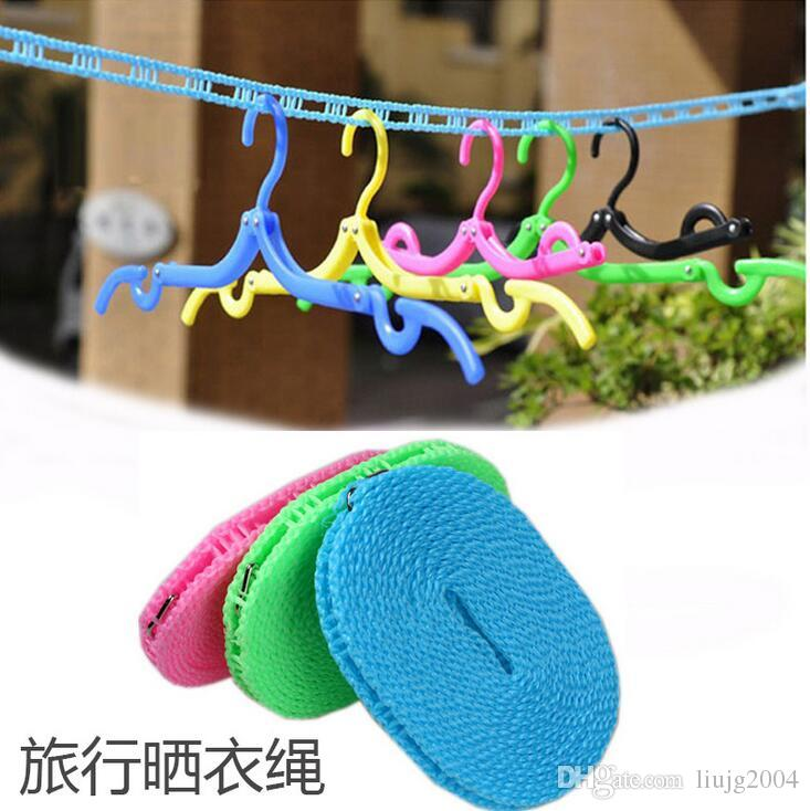 Novo multiuso 5 m comprimento antiderrapante de nylon varal ao ar livre corda de secagem varal de roupa com gancho frete grátis