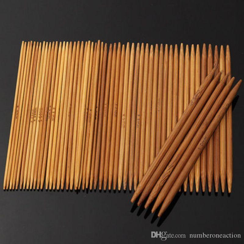 "High Quality Hot Sale 55PCS 5"" 11 Sizes Double Pointed Carbonized Bamboo Knitting Needles Crochet 13cm"