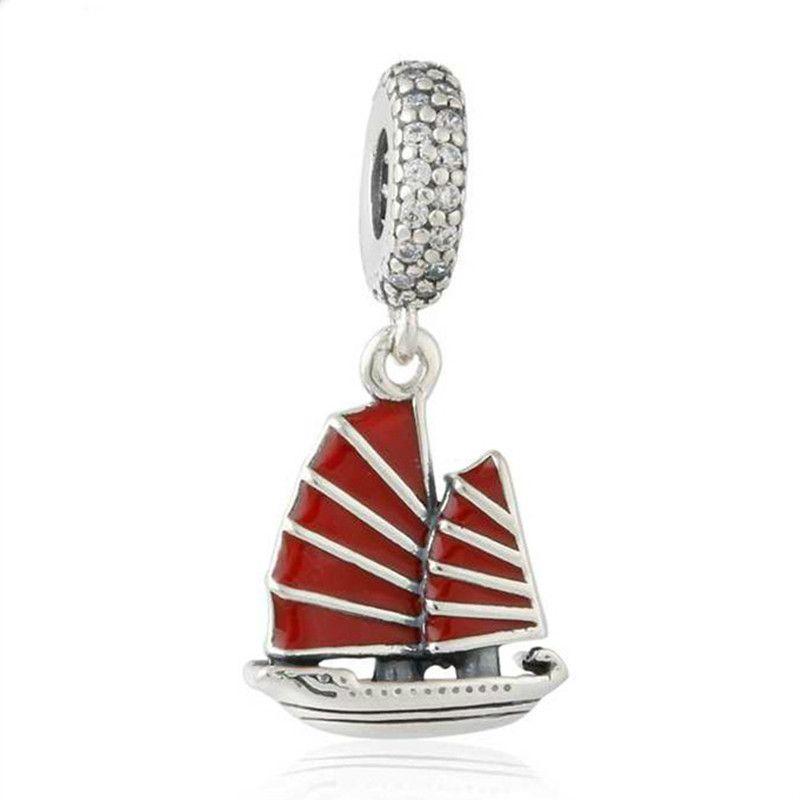 Çin Önemsiz Gemi Charms Kolye Otantik 925 Gümüş Kırmızı Emaye Gemi Charm Boncuk Takı Yapımı Için DIY Marka Bilezikler Aksesua ...