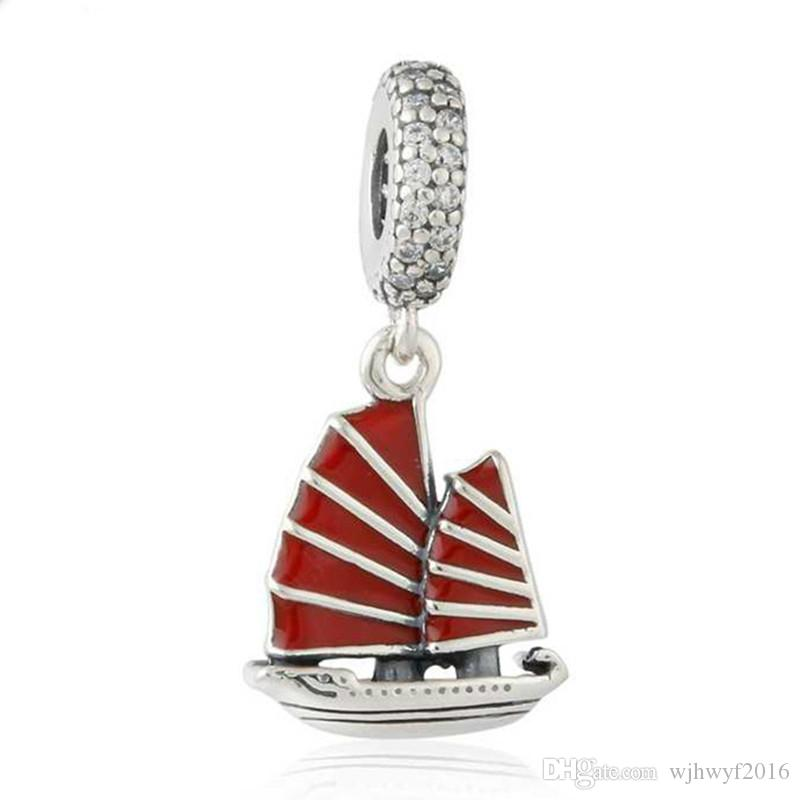 Chinese Junk Ship Charms Pendant Authentic 925 Sterling Silver Red Enamel Ship Charm Bead For Jewelry Making DIY Brand Bracelets Accessories