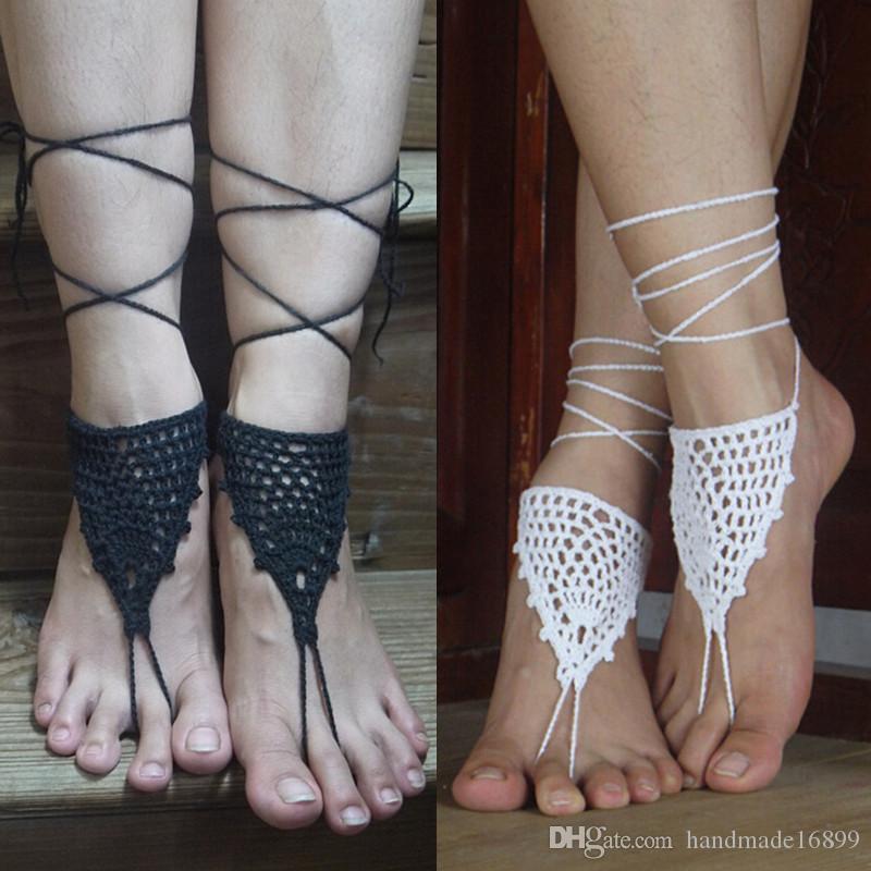 Viktorianische häkeln schwarze Schuhe, Brautjungfer Geschenk, Strand Hochzeit barfuss Sandalen, Sommer sexy Schuhe, Yoga Schuhe, Beach Pool
