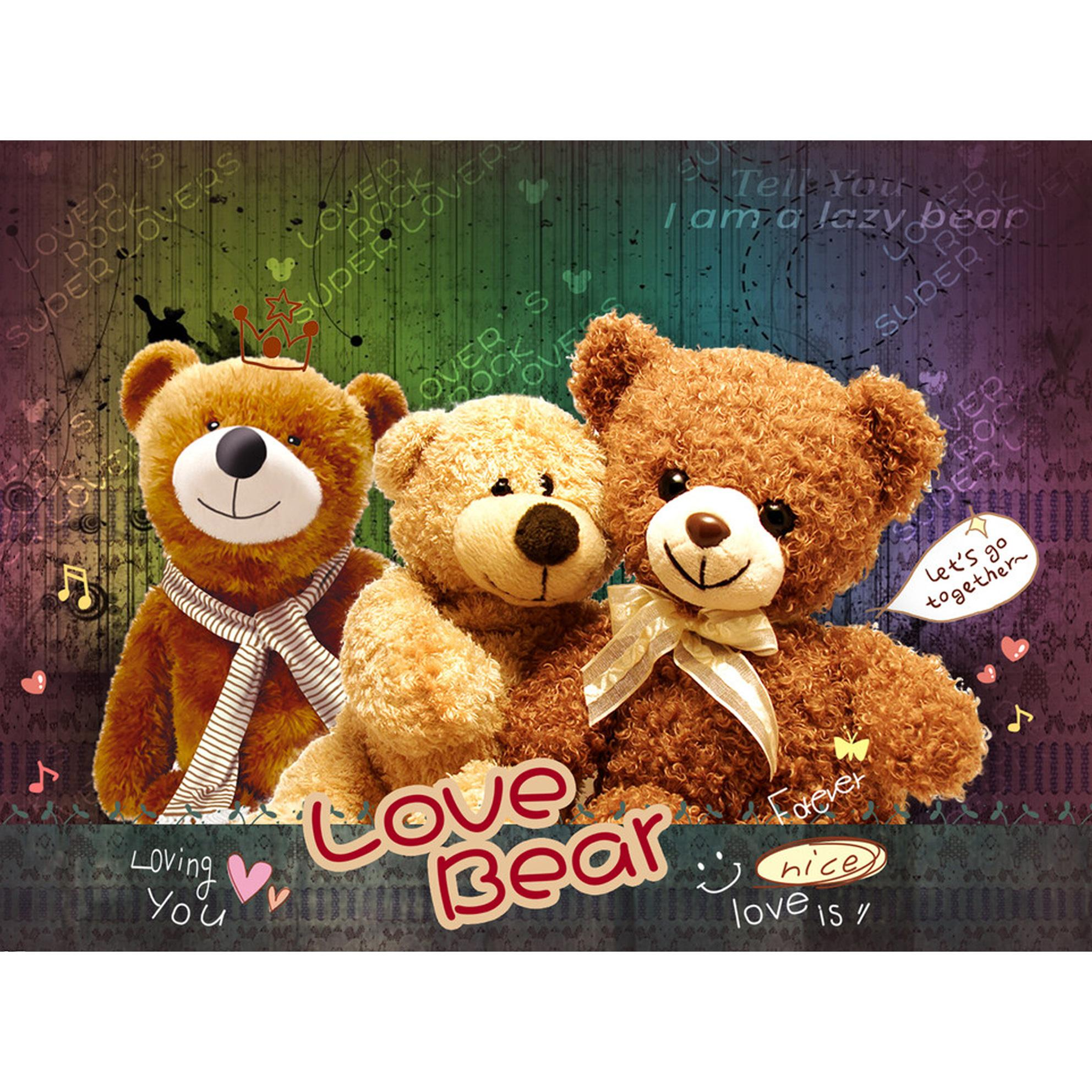 Three toy bears lovely Diamond embroidery cartoon Picture of rhinestones Mosaic painting Cross stitch 70x52cm HWB-488