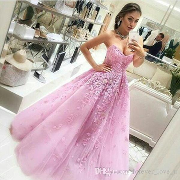 Gorgeous Prom Dress Long Formal A Line Sweetheart Neckline Strapless Evening Party Gowns with Exquisite Appliques Custom Made