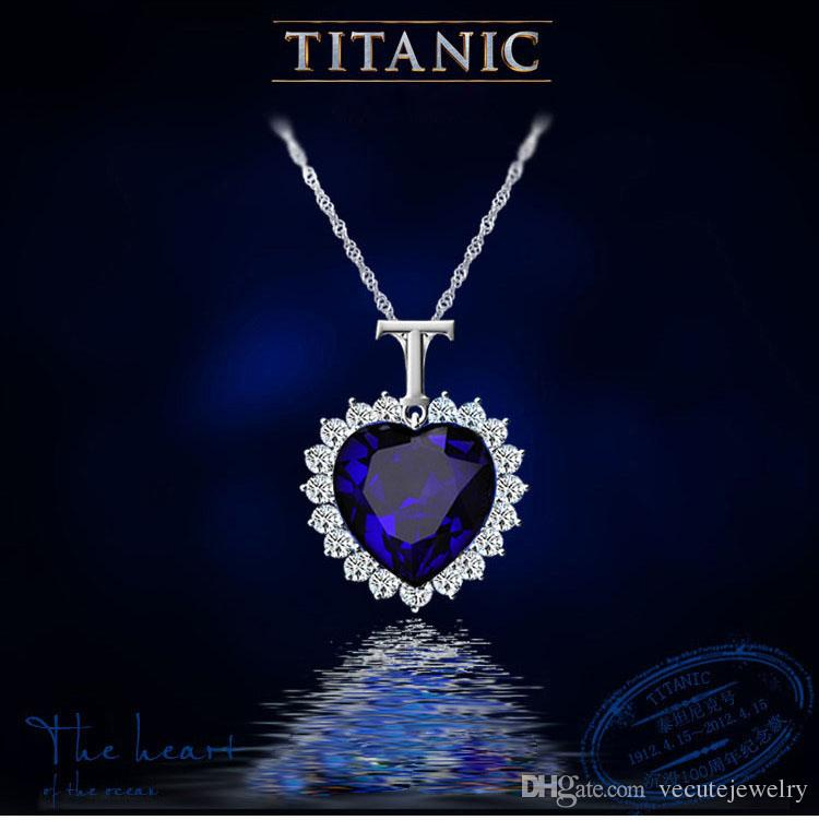 Classical 18K White Gold Color Blue Austrian Crystal Love Heart TITANIC Necklace Made With SWA Elements for Women Bridal Wedding Nice Gift