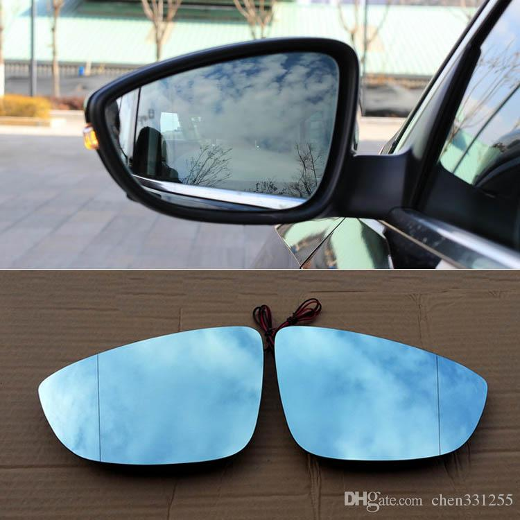 For Volkswagen Passat Rearview Mirror Hyperbola Blue Mirror Arrow LED Turning Signal Lights Free Shipping
