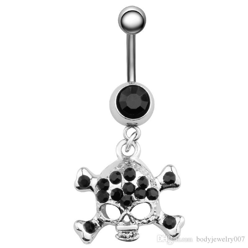 D0156 (3 färger) Belly Button Navel Ringar med klart och svart Skalle Styles Piercing Body Smycken